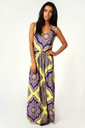 Boohoo Rosie Neon Paisley Twist Back Maxi Dress Multi