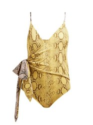 Stella Mccartney Timeless Snake Print Wrap Swimsuit Yellow Multi