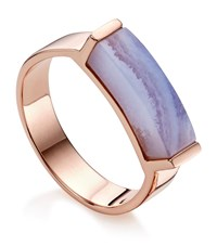 Monica Vinader Linear Lace Agate Stone Ring Female Rose Gold