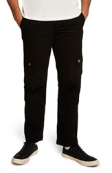 Topman Straight Fit Cargo Trousers Black