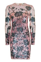 Topshop Flower Sequin Bodycon Dress Pink