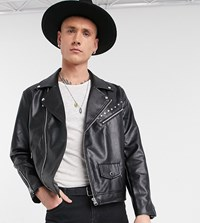 Heart And Dagger Biker Jacket With Studs In Faux Leather Black