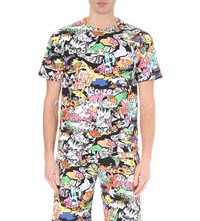 Kenzo Cartoon Print Cotton Jersey T Shirt Multicolor