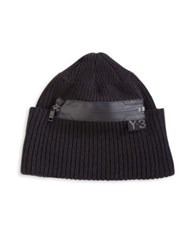 Y 3 Zippered Wool Beanie Black
