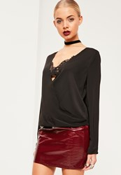 Missguided Black Lace Bralet Wrap Blouse