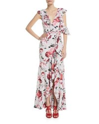 Fame And Partners The Beckman Ruffle Floral High Low Gown Blushing Blooms