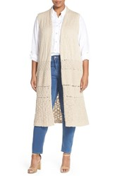 Plus Size Women's Caslon Mixed Stitch Long Vest