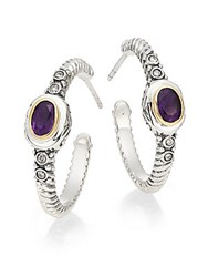 Effy Amethyst Diamond Stering Silver And 18K Yellow Gold Hoop Earrings 1 Silver Purple