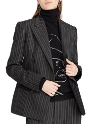 Ralph Lauren Donaldson Double Breasted Pinstripe Wool Jacket Gray