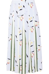 Suno Grosgrain Paneled Printed Silk Crepe De Chine Midi Skirt