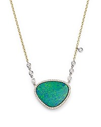 Meira T 14K Yellow Gold And Opal Necklace With Diamond By The Yard Bezel Accents 16 Multi White