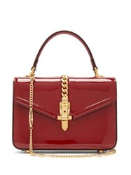 Gucci Sylvie Small Patent Leather Shoulder Bag Burgundy
