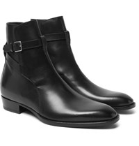 Saint Laurent Leather Jodhpur Boots Black