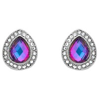 Monet Glass Crystal Teardrop Stud Earrings Silver Lilac