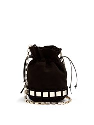 Tomasini Lucie Small Suede Bucket Bag Black Gold