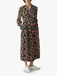 Toast Washed Floral Print Dress Blue Grey