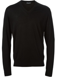 Dolce And Gabbana Classic V Neck Sweater Black