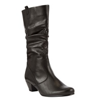 Gabor Rachel Extra Wide Fit Leather Calf Boots Black