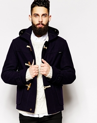 Gloverall Cropped Duffle Coat In Melton Wool Indigo