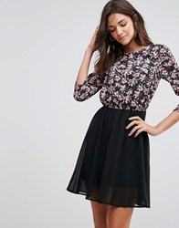 Pussycat London Skater Dress With Floral Top Multi