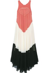 Chloe Color Block Pleated Silk Georgette Gown Coral
