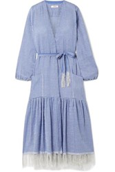 Lemlem Zinab Fringed Metallic Striped Cotton Blend Voile Robe Light Blue