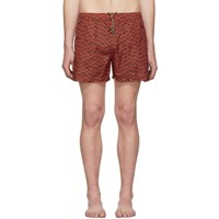 Missoni Red And Black Embroidered Patch Swim Shorts