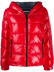 Duvetica Shiny Hooded Puffer Jacket Red