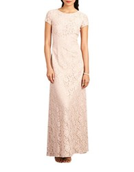Donna Morgan Cap Sleeve Lace Gown Pearl Pink