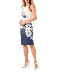Phase Eight Sleeveless Floral Sheath Dress Blue Multi