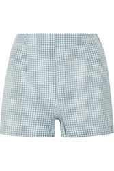 Current Elliott The High Waist Gingham Cotton Shorts Blue