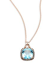 Effy Brown Diamond Blue Topaz And 14K Rose Gold Pendant Necklace