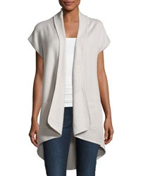 Neiman Marcus Ribbed High Low Open Front Sweater Gray
