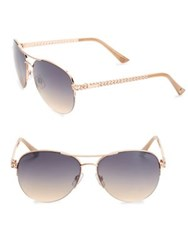 Jessica Simpson 60Mm Link Temple Mirrored Aviator Sunglasses Gold