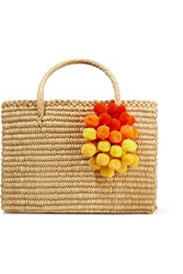 Nannacay Maldives Medium Pompom Embellished Woven Raffia Tote Sand