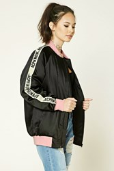 Forever 21 Acph Now Graphic Bomber Black Pink