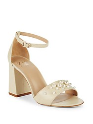 Zac Posen Elle Faux Pearl Leather Ankle Strap Sandals Ivory