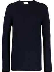 Ma'ry'ya Ribbed Knit Detail Sweater Blue