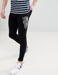 Brooklyn Supply Co. Co Muscle Fit Jeans With Snake Embroidery Black