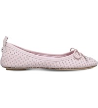 Carvela Lay Studded Leather Ballerinas Nude