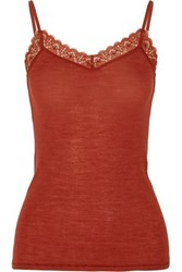 Hanro Leavers Lace Trimmed Wool And Silk Blend Jersey Camisole Brick