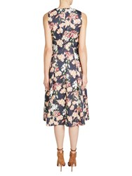 Oui Floral Print Prom Dress Dark Blue Red