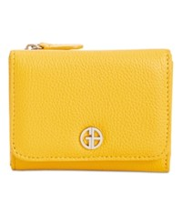 Giani Bernini Softy Leather Trifold Wallet Lemon Yellow Silver