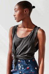 Urban Outfitters Uo Tsunami Tied Tank Top Black