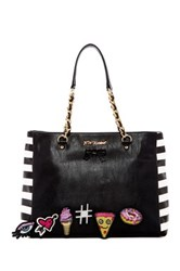 Betsey Johnson Faux Leather Sticky Situation Tote Black