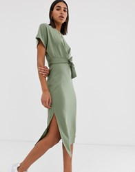 Bershka Jersey T Shirt Dress In Khaki Green