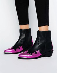 Asos Artessa Leather Western Ankle Boots Pink