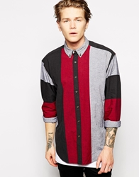 Asos Oversized Shirt In Long Sleeve With Vertical Stripe Red