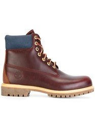 Timberland Lace Up Boots Red