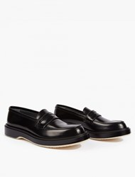 Adieu Black Leather Slip On Loafers